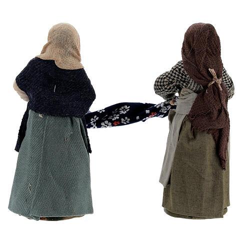 Femmes qui plient un drap crèche Naples 10 cm 5