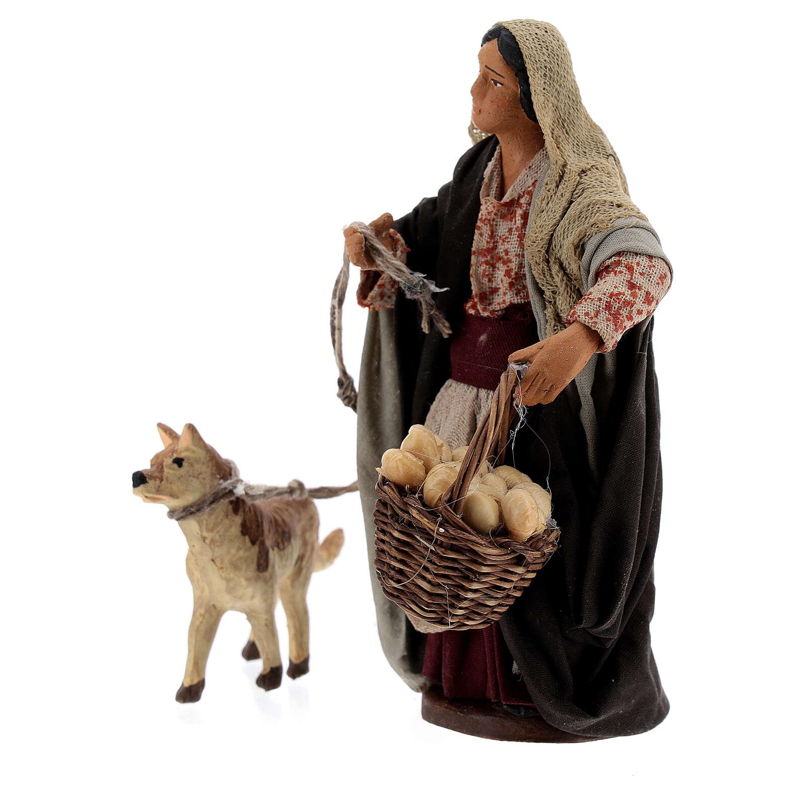 Mulher com cesto e cachorro com coleira para presépio napolitano com figuras de altura média 13 cm 4
