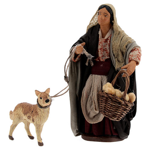 Mulher com cesto e cachorro com coleira para presépio napolitano com figuras de altura média 13 cm 1