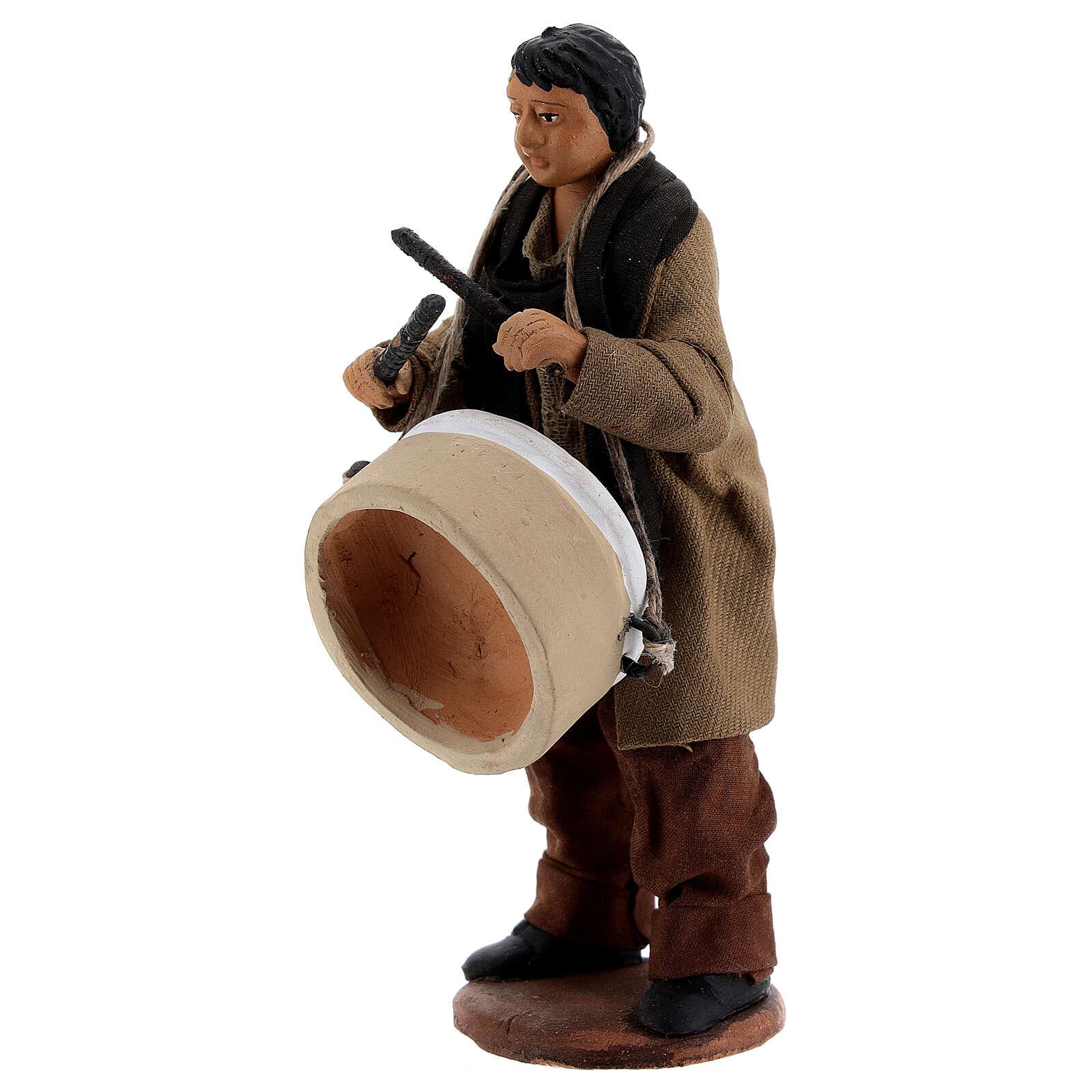 Uomo con tamburo presepe napoletano 13 cm 4