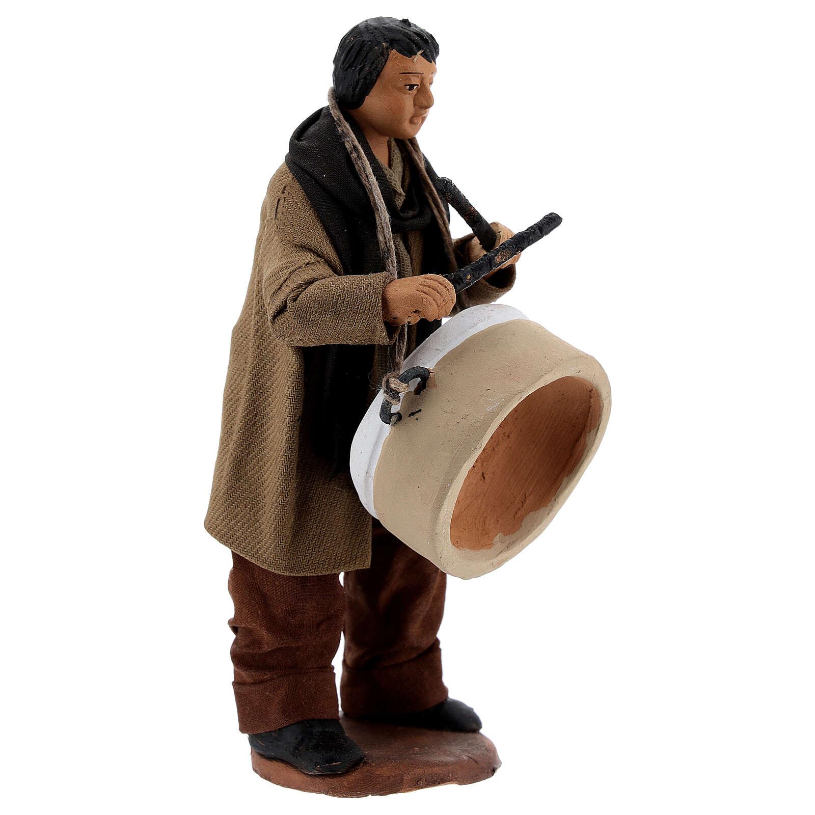 Man with drum Neapolitan nativity 13 cm 4