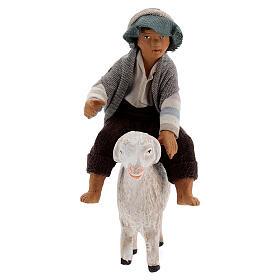 Boy on sheep Neapolitan nativity scene figurine 13 cm s1