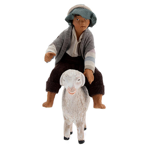 Boy on sheep Neapolitan nativity scene figurine 13 cm 1