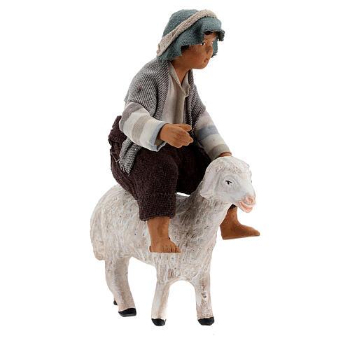 Boy on sheep Neapolitan nativity scene figurine 13 cm 2