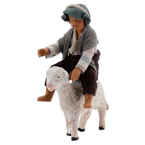 Boy on sheep Neapolitan nativity scene figurine 13 cm 3