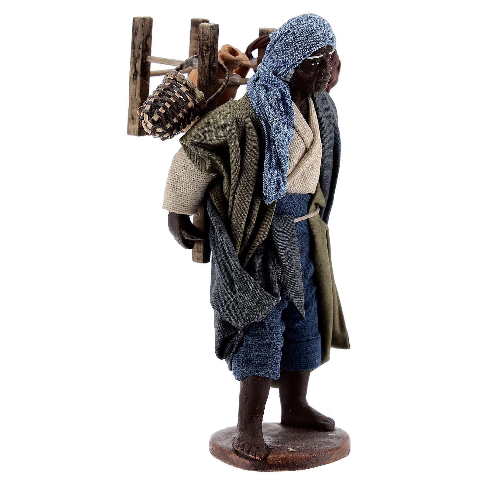 Vendedor ambulante africano para presépio napolitano com figuras de altura média 13 cm 4