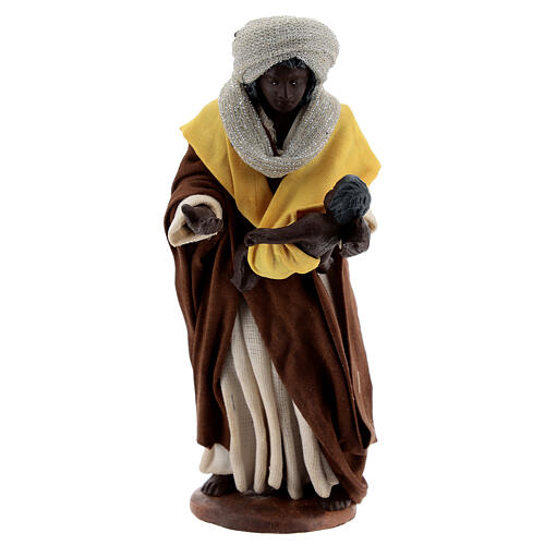 Moor woman with newborn Neapolitan nativity scene 13 cm 1