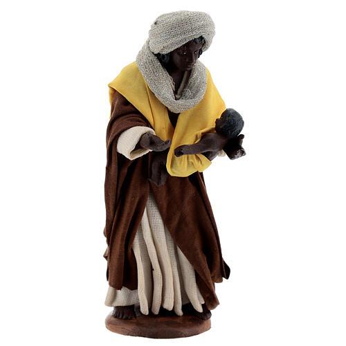 Moor woman with newborn Neapolitan nativity scene 13 cm 3