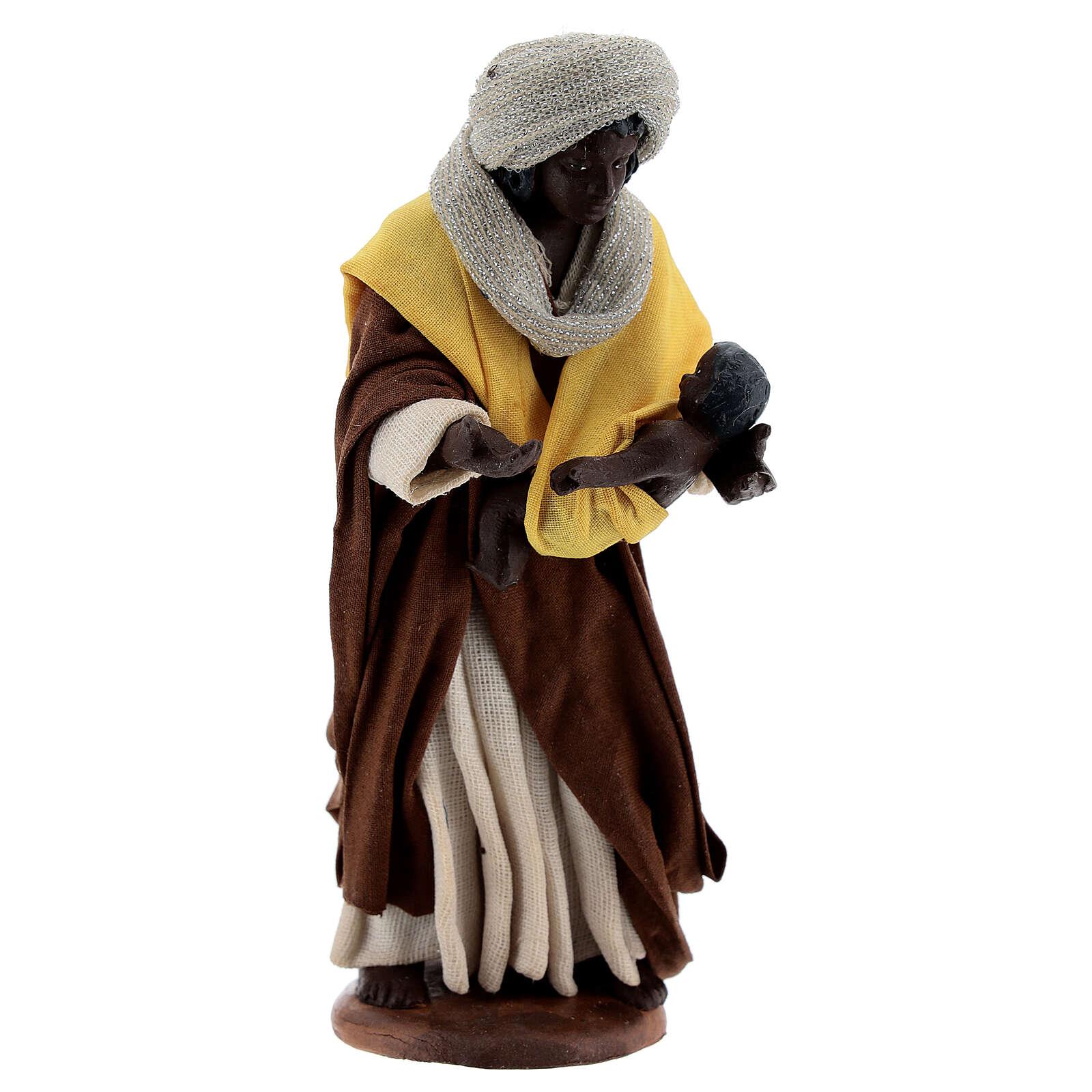 Moor woman with newborn Neapolitan nativity 13 cm 4