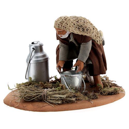 Shepherd milking goat Neapolitan nativity scene figurine 10 cm 2