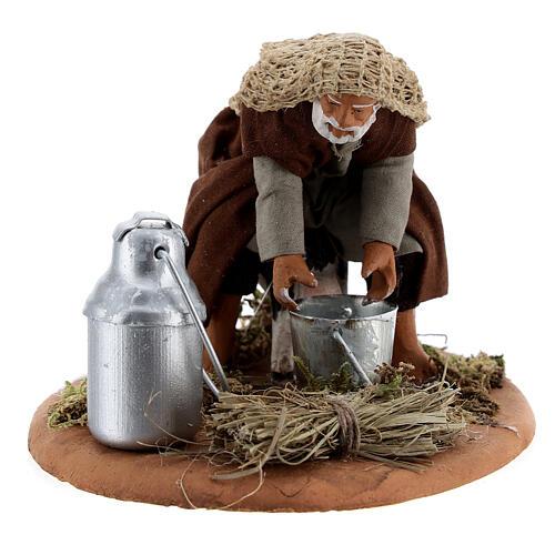 Shepherd milking goat Neapolitan nativity scene figurine 10 cm 5