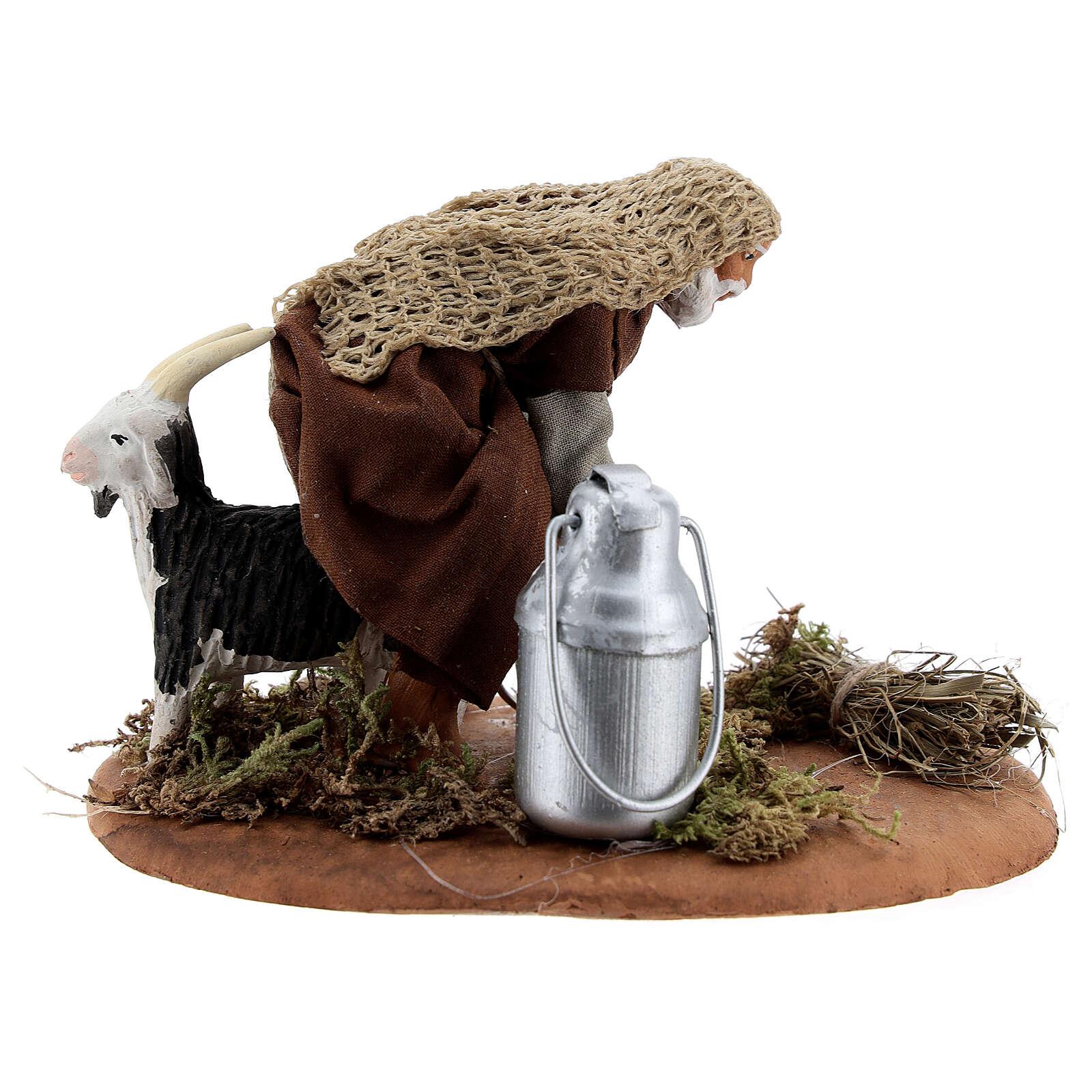 Pastor ordenhando cabra para presépio napolitano com figuras de altura média 10 cm 4