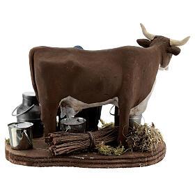 Pastor ordenhando vaca para presépio napolitano com figuras de altura média 10 cm s5
