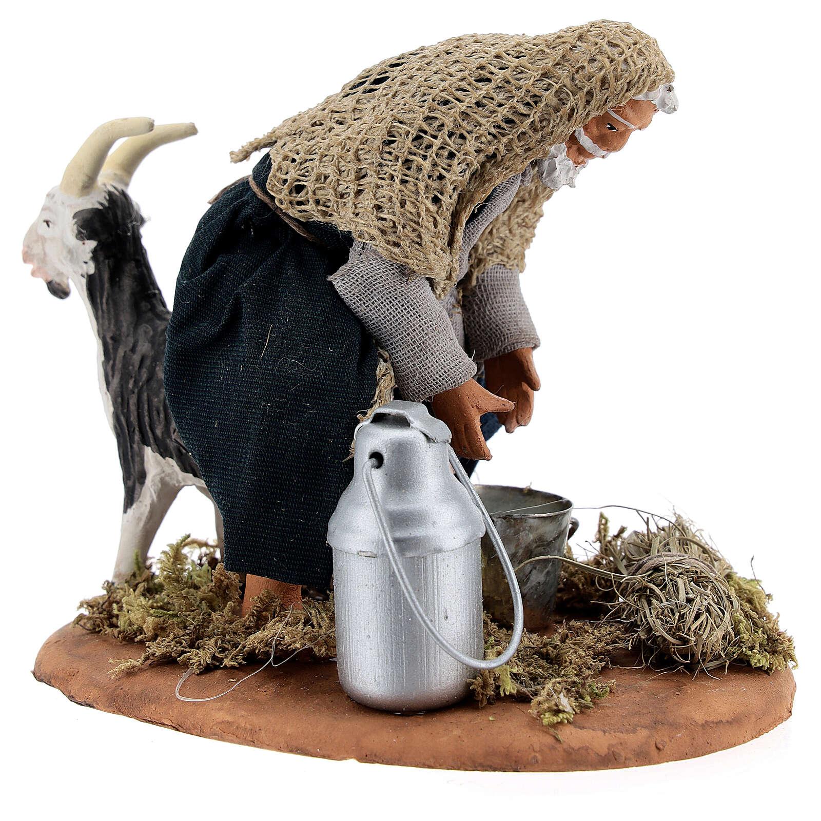 Fermier qui trait une chèvre crèche napolitaine 13 cm 4