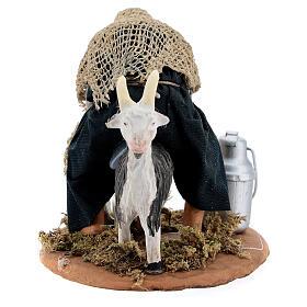 Fermier qui trait une chèvre crèche napolitaine 13 cm s4