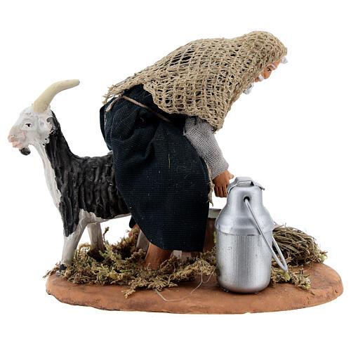 Fermier qui trait une chèvre crèche napolitaine 13 cm 1