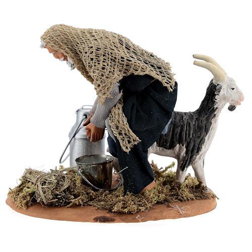 Fermier qui trait une chèvre crèche napolitaine 13 cm 3