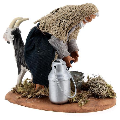 Fermier qui trait une chèvre crèche napolitaine 13 cm 5