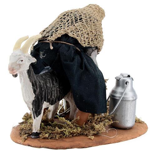 Fermier qui trait une chèvre crèche napolitaine 13 cm 8