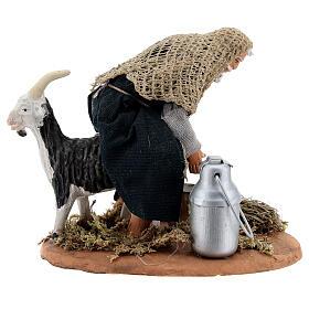 Mungitore capra presepe napoletano 13 cm s1