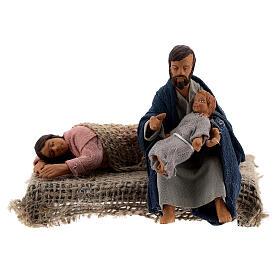 Holy Family sleeping Mary figurine, 10 cm Neapolitan nativity s1