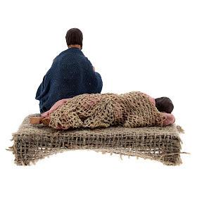 Scena famiglia a riposo presepe Napoli 10 cm s4