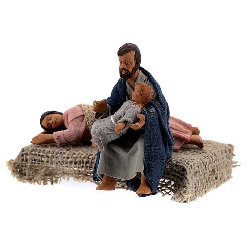 Scena famiglia a riposo presepe Napoli 10 cm 3