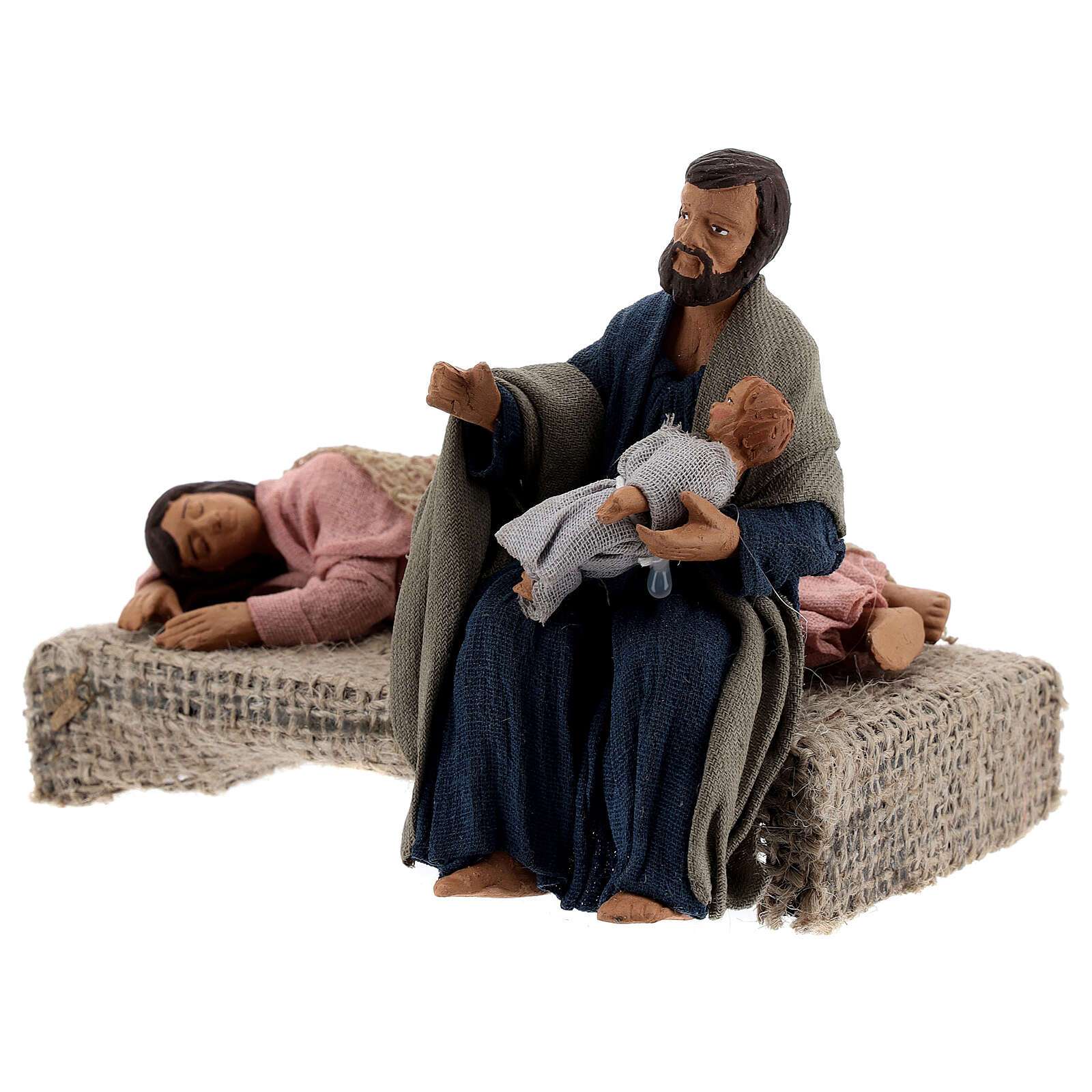 Holy Family sleeping Mary figurine, 13 cm Neapolitan nativity 4