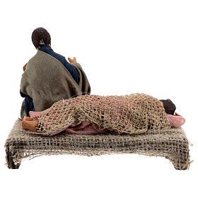 Holy Family sleeping Mary figurine, 13 cm Neapolitan nativity s7