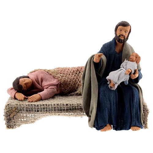 Sacra Famiglia sdraiata scena presepe napoletano 13 cm 1