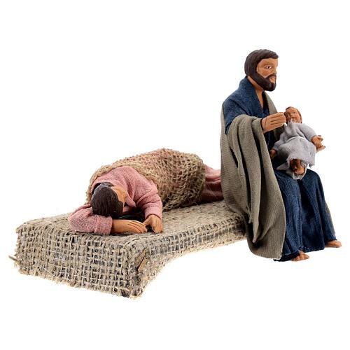 Sacra Famiglia sdraiata scena presepe napoletano 13 cm 6