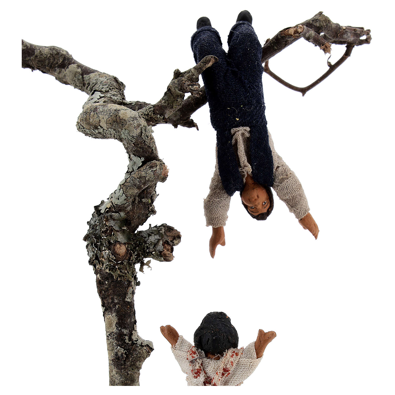 Children playing on tree figurine, 13 cm Neapolitan nativity scene 4