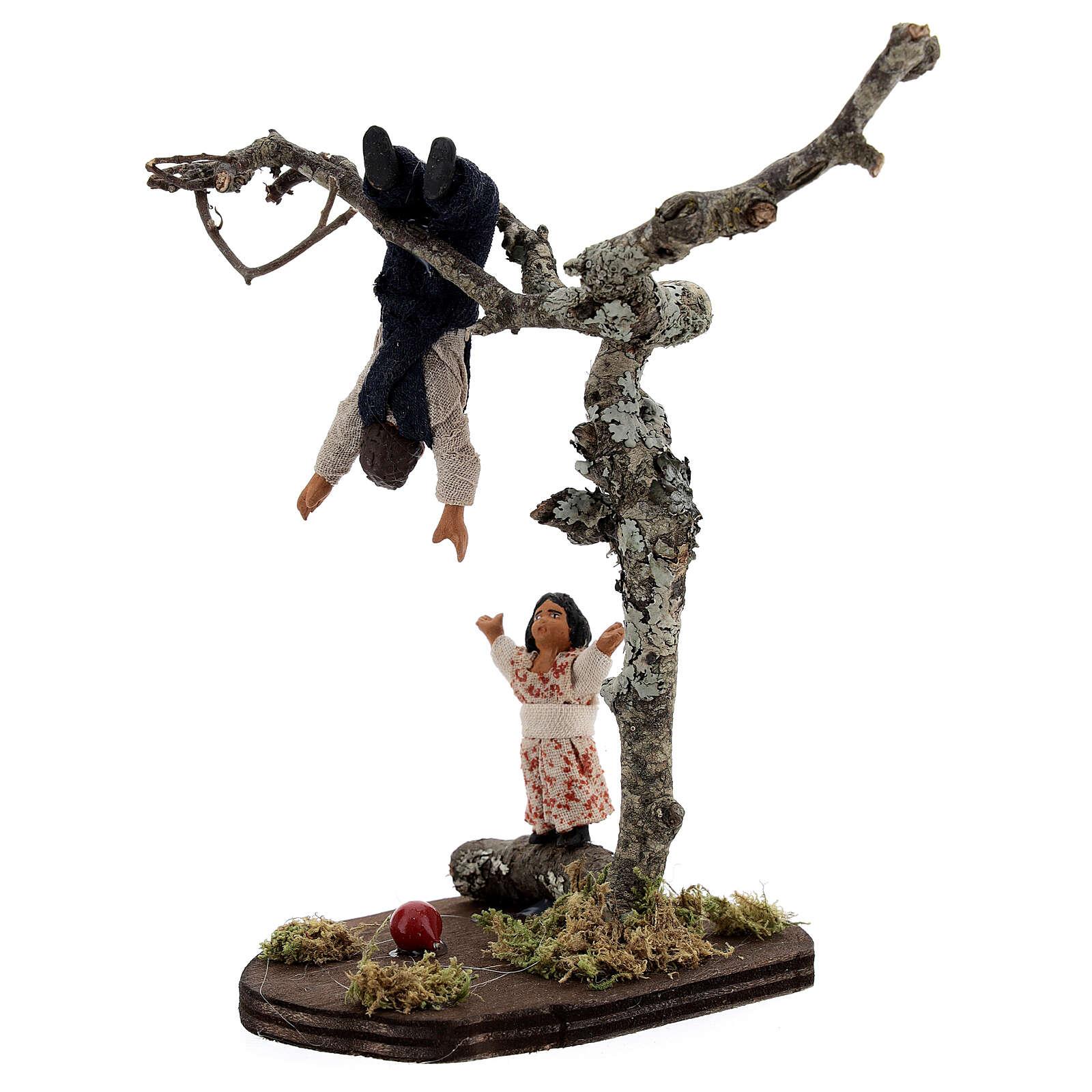 Crianças jogando na árvore para presépio napolitano com figuras de altura média 13 cm 4