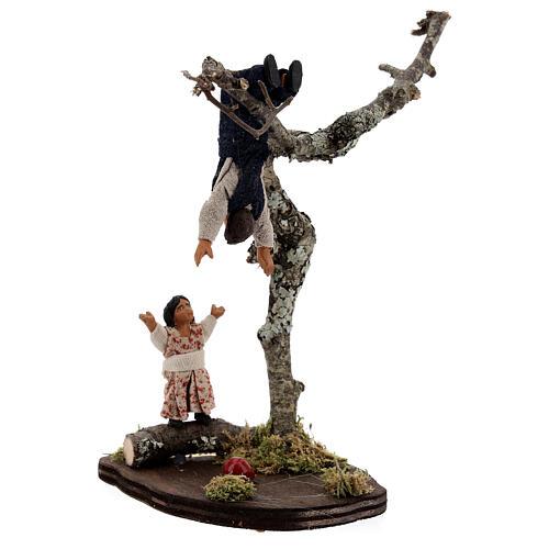 Crianças jogando na árvore para presépio napolitano com figuras de altura média 13 cm 3