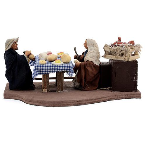 Animated dinner table scene 10 cm Neapolitan nativity 1