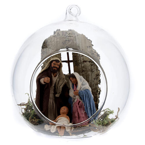 Holy Family in glass ball, 10cm Neapolitan Nativity Scene 1