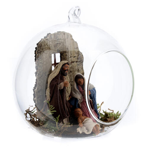 Holy Family in glass ball, 10cm Neapolitan Nativity Scene 2
