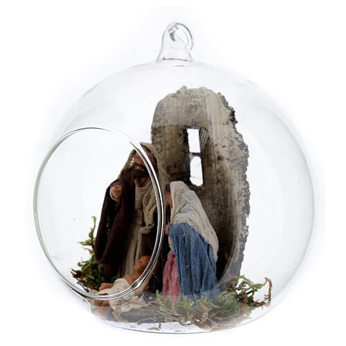 Holy Family in glass ball, 10cm Neapolitan Nativity Scene 3