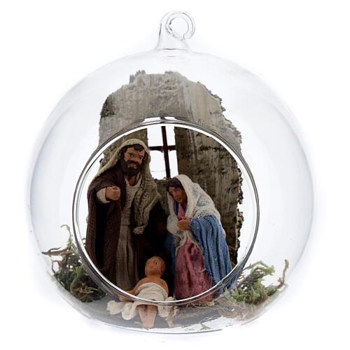 Nativité boule en verre Naples 10 cm 1