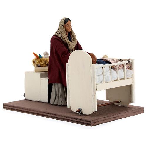 Woman rocking baby Neapolitan Nativity scene 12 cm 3