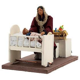 Movimento mulher embalando bebé no berço presépio de Nápoles figuras altura média 12 cm s2