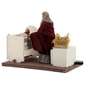 Movimento mulher embalando bebé no berço presépio de Nápoles figuras altura média 12 cm s4