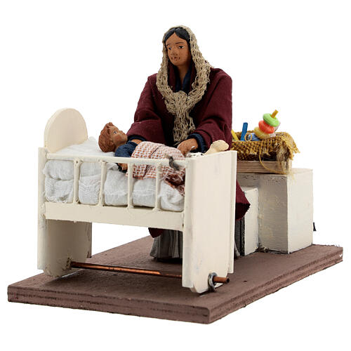 Animated woman soothing baby in crib 12 cm Neapolitan 2