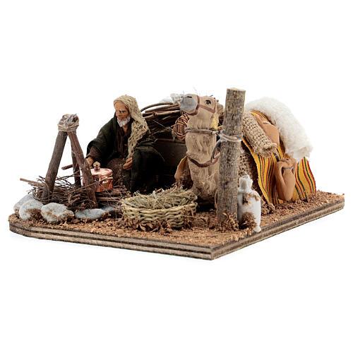 Cena em movimento cameleiro com camelo presépio de Nápoles figuras altura média 10 cm 3