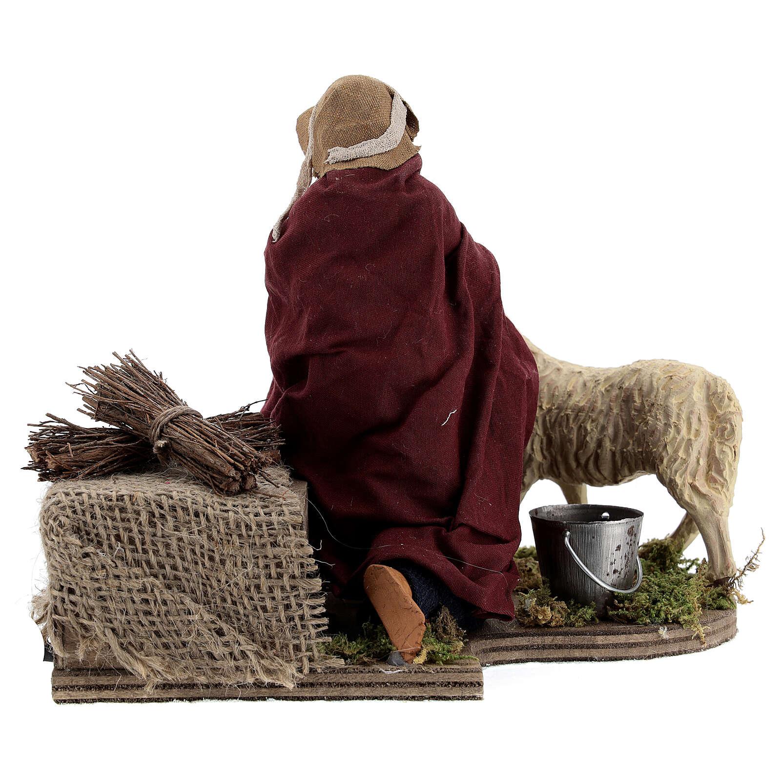 Animated nativity shepherd and sheep, 14 cm Naples 4
