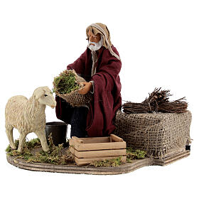 Animated nativity shepherd and sheep, 14 cm Naples s3