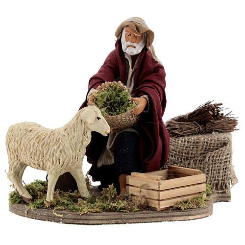 Animated nativity shepherd and sheep, 14 cm Naples 1