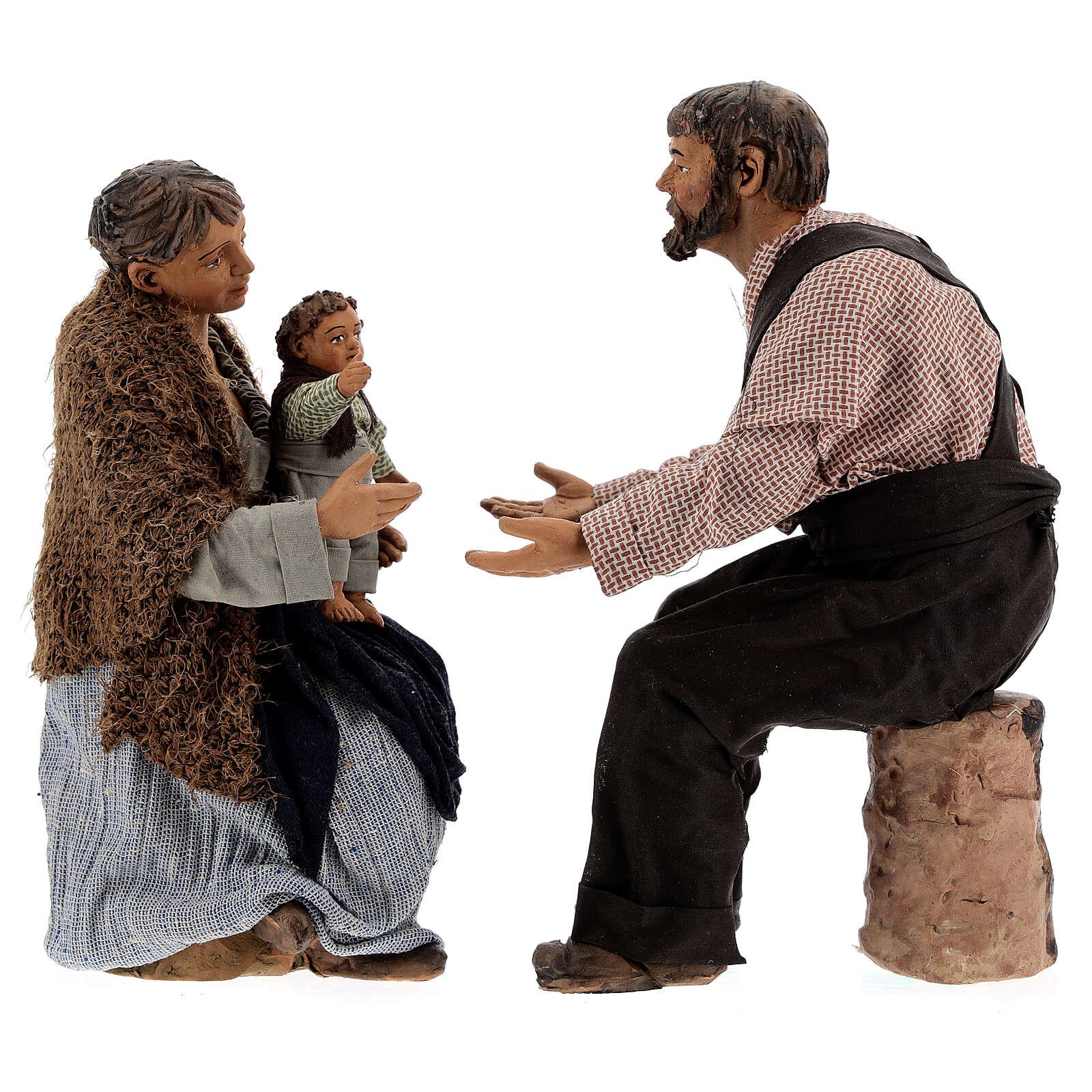 Cena família para presépio napolitano com figuras de altura média 30 cm 4
