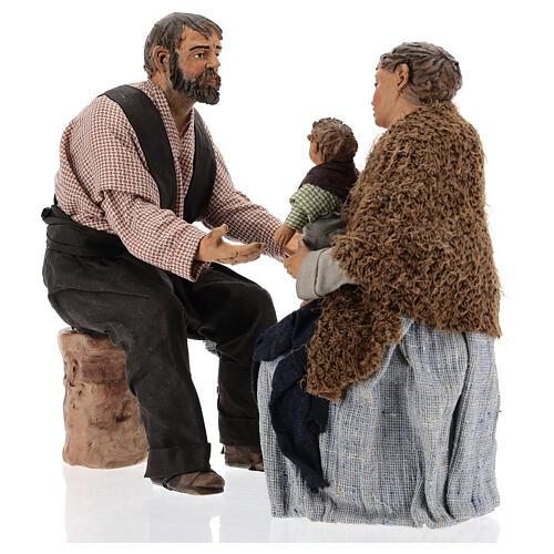 Cena família para presépio napolitano com figuras de altura média 30 cm 3