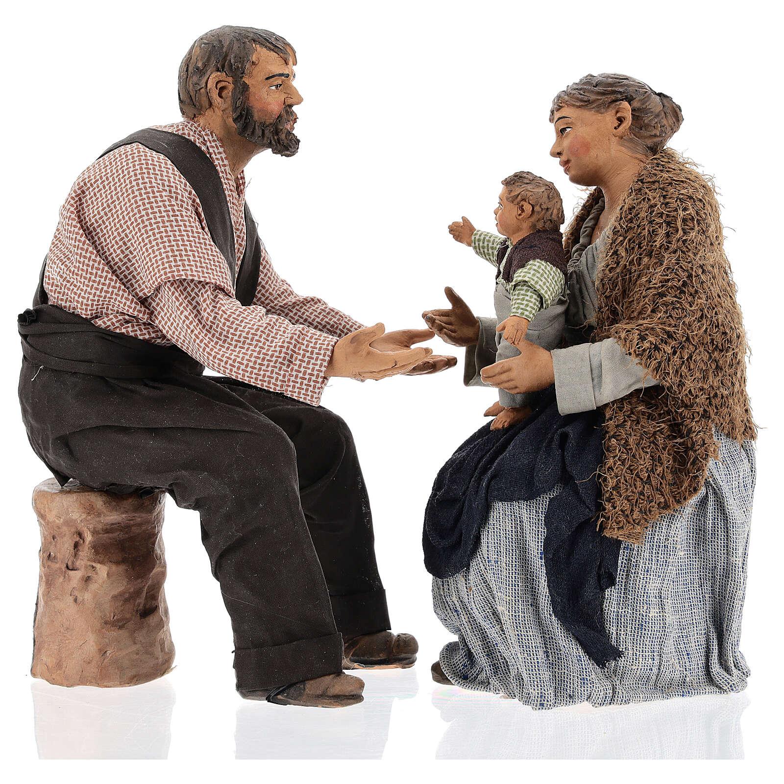 Family statue, 30 cm Neapolitan nativity 4